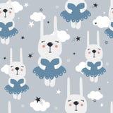 Kaniner i klänningar, stjärnor, moln, sömlös modell royaltyfri illustrationer