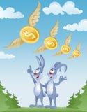 Kaniner observerar flyget av dollar i himlen Royaltyfria Foton