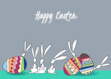 Kaniner och ägg för påsk vektor illustrationer