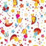 Kaniner och sömlös modell för blommor royaltyfri illustrationer