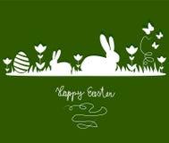 Kaniner på äng Arkivbild