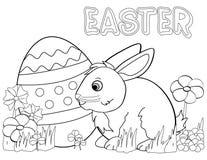 kaninfärgläggningeaster sida stock illustrationer