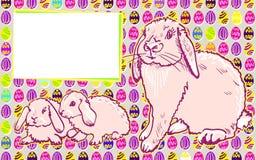 Kaninkaniner med påskmodern konst vektor illustrationer