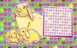 Kaninkaniner med påskmodern konst royaltyfri bild