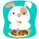 Kanintecknad film som äter grönsaken Arkivbild