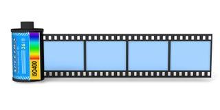 Kanister mit filmstrip lizenzfreie abbildung