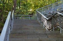Stairs to national reserve of Taras Shevchenko on Taras Hill Chernecha Hora in Kaniv, Ukraine on Oc