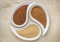 Kaniwa, amaranth and teff grain Royalty Free Stock Photos