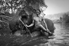 KANJANABURI THAILAND-JANUARY 30: Mahouten visar att spela med en elefant i en flod på Sangkhlaburi, Kanjanaburi, Thailand på Janu Arkivbilder