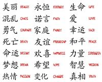 Kanji collection. Big collection of japanese kanji Stock Image