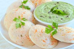 Kanjivaram Idli and coconut chutney Royalty Free Stock Photography