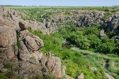 kanjon Aktovsky kanjon Naturlig nationalpark`-Bugsky Gard `, ukraine Royaltyfri Foto