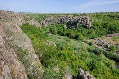 kanjon Aktovsky kanjon Naturlig nationalpark`-Bugsky Gard `, ukraine Arkivbild