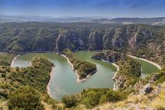 Kanjon av den Uvac floden Fotografering för Bildbyråer