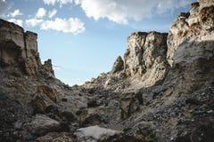 Kanjon efter den massiva jordskalvet Arkivbild