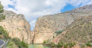 Kanjon och Caminito del Rey för El Chorro lager videofilmer