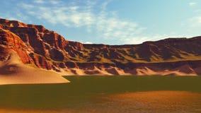 Kanjon sjö på soluppgång eller solnedgången Arkivbild