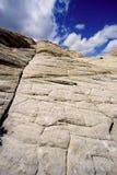 kanjon som ser sandstensnow upp utah Arkivfoto