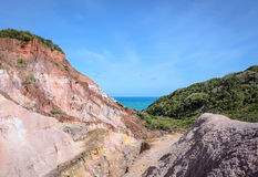 Kanjonen av klippor med många stenar sedimented vid tid Royaltyfri Fotografi