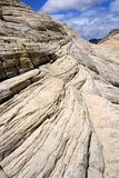 kanjonen som ser sandstenar, snow upp utah Arkivbild