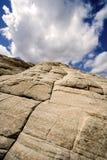 kanjonen som ser sandstenar, snow upp utah Royaltyfri Foto