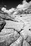 kanjonen som ser sandstenar, snow upp utah Royaltyfria Foton