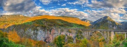 Kanjonflod Tara och ‡ för eviÄ för ` för Ä-urÄ en Tara Bridge, Montenegro - höstbild Royaltyfria Bilder