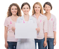 Kanker van de borst Financier de strijd, vind een behandelings postzegel Royalty-vrije Stock Afbeeldingen
