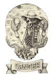 Kanker van de dierenriemschedel Hand die op papier trekken Stock Foto