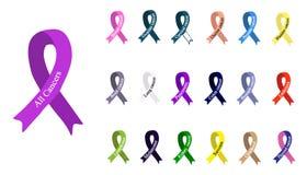 Kankerlint Reeks linten van verschillende kleuren tegen kanker Internationale Dag van kanker De dag van wereldkanker Stock Foto's