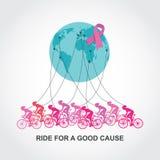 Kankervoorlichting het cirkelen ras of de concurrentie rit voor een goede oorzaak en een liefdadigheid Stock Afbeeldingen