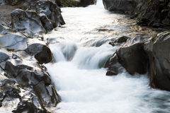 Kanmangafuchi Abyss. A fast flowing river at the Kanmangafuchi Abyss at Nikko Japan Royalty Free Stock Photos
