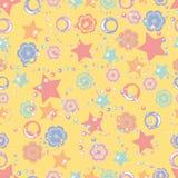 Muster der Sternringe und -blumen für Kinder lizenzfreie abbildung