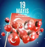19. kann Gedenken von Ataturk, Jugend und trägt das Tagtürkischen sprechen zur Schau: 19 mayis Ataturk-` u anma, genclik VE-spor  Lizenzfreies Stockfoto