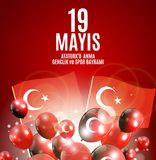 19. kann Gedenken von Ataturk, Jugend und trägt das Tagtürkischen sprechen zur Schau: 19 mayis Ataturk-` u anma, genclik VE-spor  Lizenzfreie Stockbilder