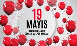19. kann Gedenken von Ataturk, Jugend und trägt das Tagtürkischen sprechen zur Schau: 19 mayis Ataturk-` u anma, genclik VE-spor  vektor abbildung