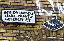 Kann ` t die Stadtgefühls-Straßenkunst Berlin weg waschen Stockfoto