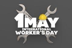 1 kann Werktag Internationaler Arbeitskraft ` s Tag Veranschaulichung 3D Stockfoto