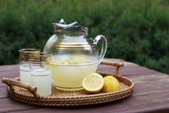Kanna av lemonad och två exponeringsglas på en tabell Royaltyfri Foto