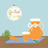 Kanna med moroten Juice Eat Fresh Healthy Arkivfoton