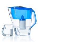 Kanna och exponeringsglas för vattenfilter Arkivfoton