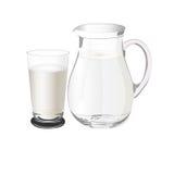 Kannan med mjölkar, vektorillustrationen Royaltyfri Fotografi