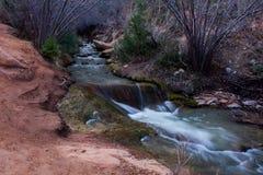 Kannaraville falls in slot canyon and river with flowing water kannaraville falls, Utah Royalty Free Stock Photography