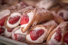 Kannoli. Shot at strawberries festival ,Malta Royalty Free Stock Image