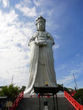 Kannonstandbeeld in Byakui Daikannon jigen-in tempel, Takasaki, Jap Royalty-vrije Stock Foto