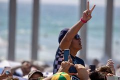 Kanoa Igarashi celebrating his win at Vans US Open of Surfing 2018 Stock Photography