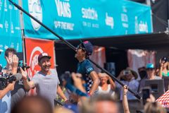 Kanoa Igarashi Wins Vans US Open of Surfing. Kanoa Igarashi wins 2018 Vans US Open of Surfing for the second consecutive year. Here he screams with exhilaration stock image