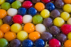 Kanom Bualoy color ball in syrup traditional  thai dessert show in Bangkok food fair Royalty Free Stock Photo