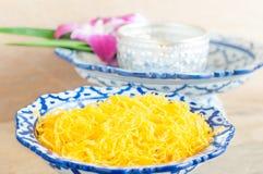 Kanom Foythong. A traditional Thai dessert royalty free stock photo