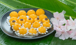 Kanom jamongkut, kanom thong ek and kanom sanay chan, gold thai dessert Royalty Free Stock Photos